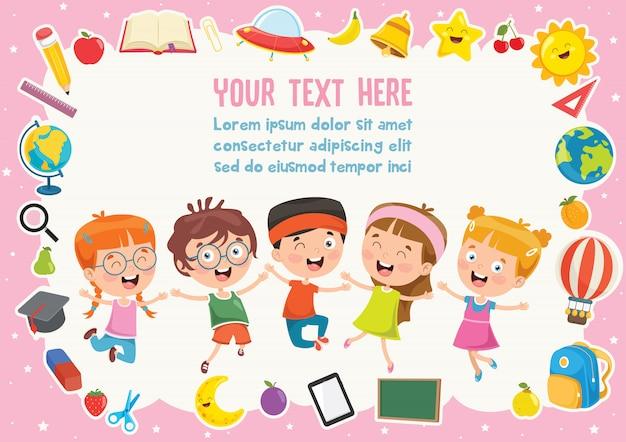Kolorowy szablon z uroczymi dziećmi