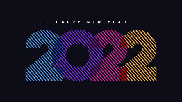 Kolorowy szczęśliwego nowego roku 2022 na czarnym tle