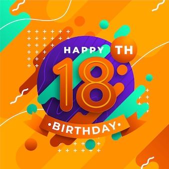 Kolorowy szczęśliwy 18 urodziny tło