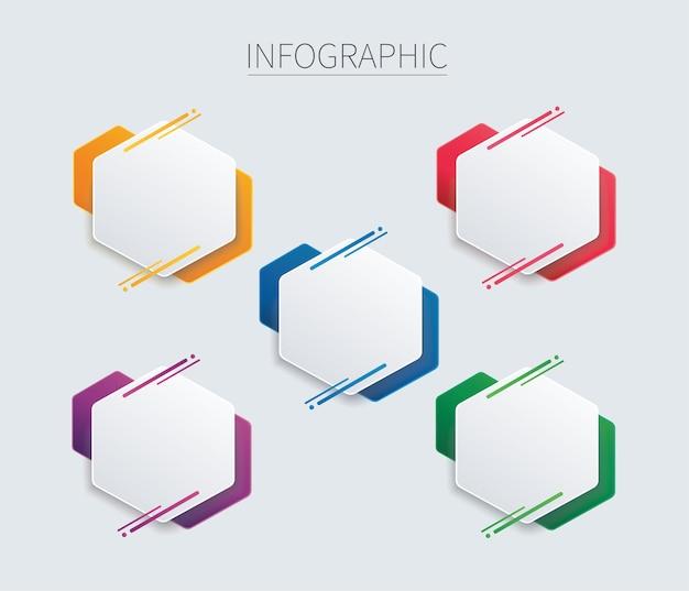 Kolorowy sześciokątny szablon infografiki z 5 opcjami