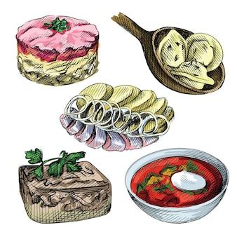Kolorowy szkic akwarela zestaw kuchni rosyjskiej. deska z pierogami i wałkiem do ciasta
