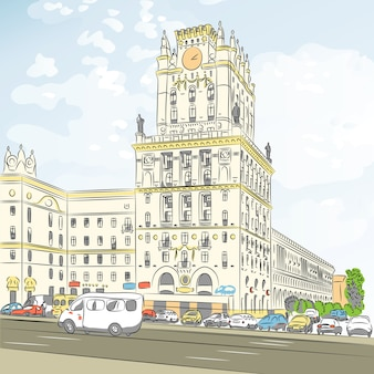 Kolorowy szkic centrum miasta, plac dworca, mińsk, białoruś