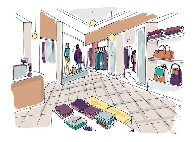 Kolorowy szkic salonu lub sklepu mody, modnego sklepu odzieżowego lub wnętrza butiku odzieżowego z półkami, ladą, manekinami ubranymi w modne ubrania