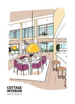 Kolorowy szkic wnętrza domu mieszkalnego lub domku letniskowego urządzonego w nowoczesnym stylu skandynawskim.