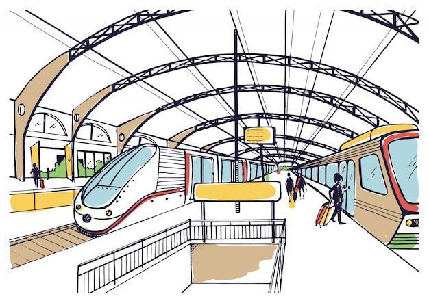 Kolorowy szkic z dworcem kolejowym. ręcznie rysowane ilustracja z nowoczesnymi szybkimi pociągami i pasażerami.