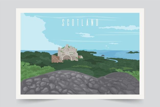 Kolorowy szkocja krajobrazu tło