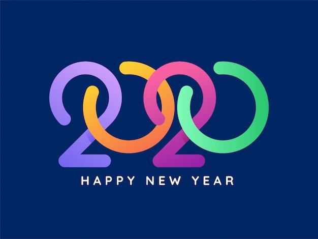 Kolorowy tekst 2020 na niebiesko na obchody szczęśliwego nowego roku.