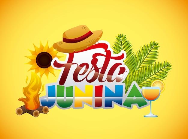 Kolorowy tekst festa junina