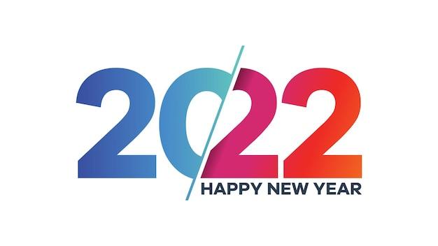 Kolorowy tekst na szczęśliwego nowego roku 2022. wektor numer 2022 odpowiedni projekt ilustracji na pozdrowienia, zaproszenia, baner lub tło.