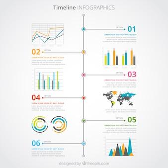 Kolorowy timeline infografika