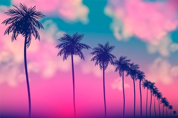 Kolorowy tło z palmowym sylwetka projektem