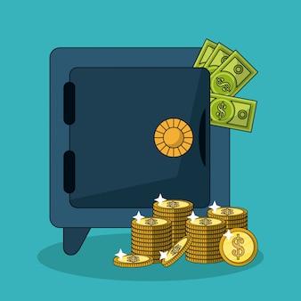 Kolorowy tło z skrytką, pieniądze rachunki i brogować monetami