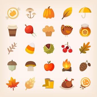 Kolorowy tradycyjny symbol jesień. rośliny, halloween i przysmaki dziękczynne. ikony na białym tle wektorów