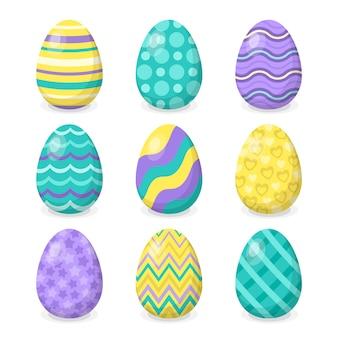 Kolorowy tradycyjny zestaw jaj na wielkanoc