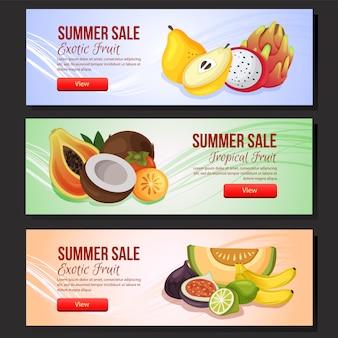 Kolorowy transparent sprzedaż lato szablon zestaw egzotycznych owoców