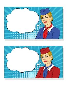 Kolorowy transparent z uśmiechniętą stewardessą na tle kropki półtonów