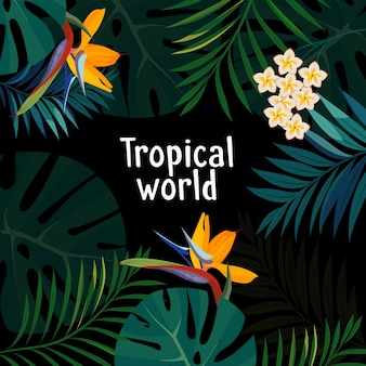 Kolorowy tropikalny kwiat, roślina i liść wzór tła.