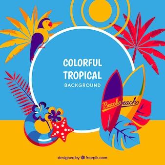 Kolorowy tropikalny tło w stylu płaski