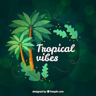 Kolorowy tropikalny tło z drzewkami palmowymi