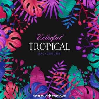 Kolorowy tropikalny tło z płaskim projektem