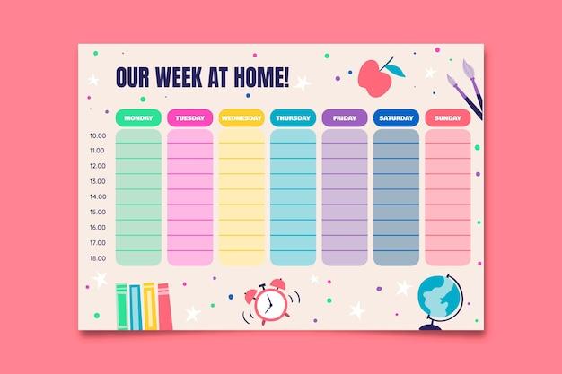 Kolorowy tygodniowy ogólny planer prac domowych