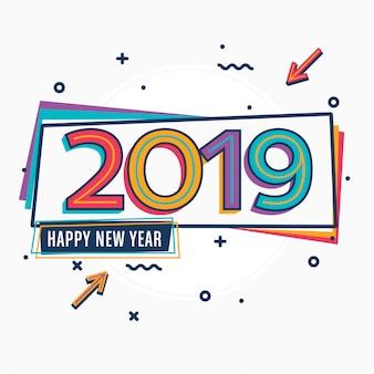 Kolorowy typograficzne nowy rok pozdrowienie projekt szablonu