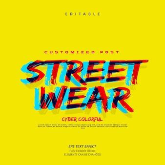 Kolorowy tytuł gry streetwear efekt tekstowy edytowalny premium wektorów