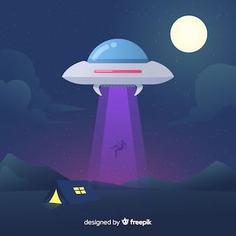 Kolorowy uprowadzenie ufo koncepcja z płaska konstrukcja