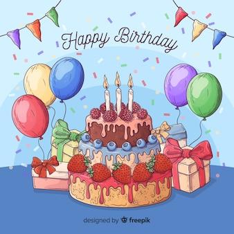 Kolorowy urodzinowy tło z prezentami i tortem
