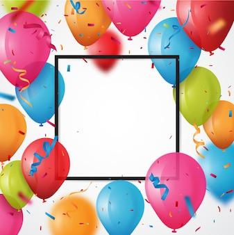 Kolorowy urodziny balon z konfetti tle