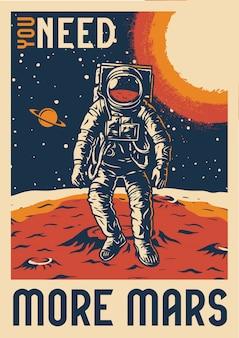 Kolorowy vintage plakat eksploracji marsa