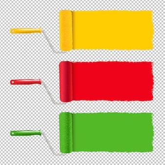 Kolorowy wałek do malowania i farby obrysu przezroczyste tło