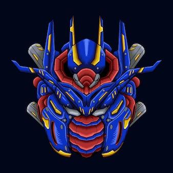 Kolorowy wektor gundam robota mecha niebieski design