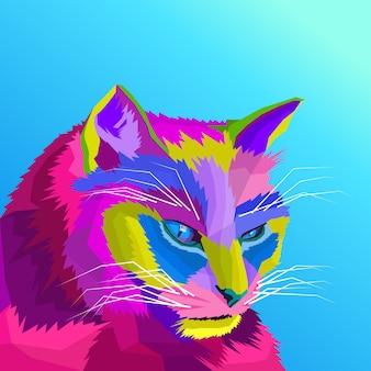 Kolorowy wektor kota pop-artu