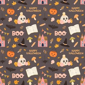 Kolorowy wektor wzór na halloween w stylu wyciągnąć rękę.