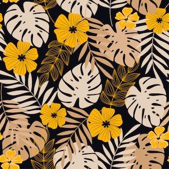 Kolorowy wektorowy tropikalny bezszwowy wzór z żółtymi kolorami