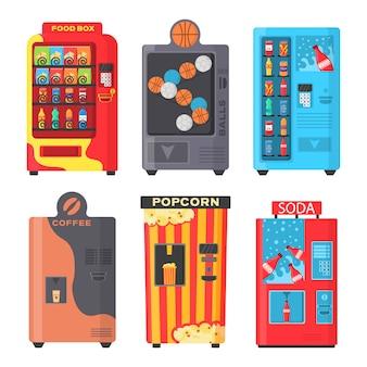 Kolorowy widok z przodu autom z zimnym napojem, przekąską, popcornem i kawą w płaskiej konstrukcji. automat z przekąskami typu fast food, napojami, orzechami, frytkami, krakersami, sokami, kanapkami. ilustracja.