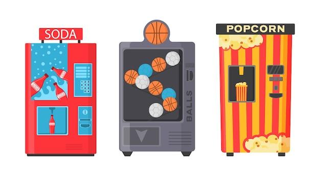 Kolorowy widok z przodu automatu z zimnym napojem, przekąską, popcornem i kawą w płaskiej konstrukcji. automat z przekąskami fast food, napojami, orzechami, frytkami, krakersami, sokami, kanapkami.