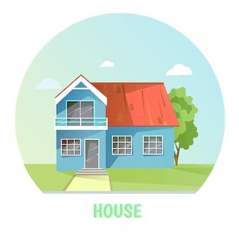 Kolorowy wiejski dom. budynki płaskie.