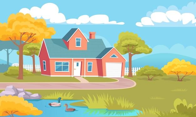 Kolorowy wiejski dom z trawnikiem ogrodowym i jeziorem