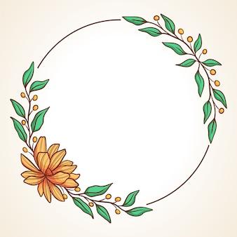 Kolorowy wieniec kwiatowy z liści i jagód okrągłe ramki na zaproszenia ślubne i kartki z życzeniami