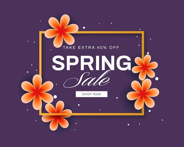 Kolorowy wiosenny sztandar sprzedaż z pięknymi kwiatami