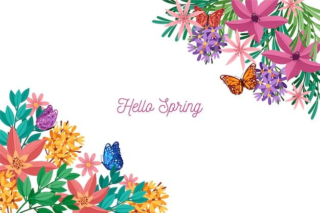 Kolorowy wiosny tło z powitaniem