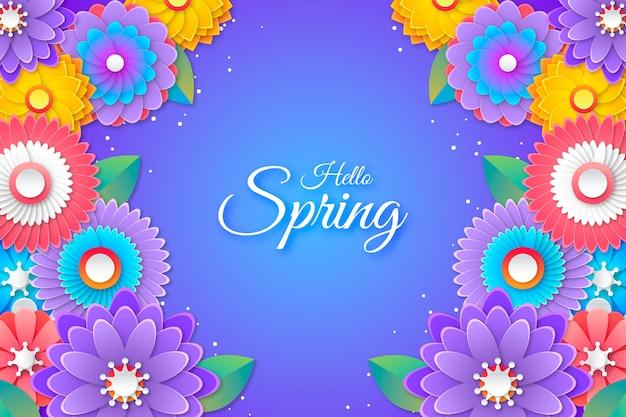 Kolorowy witaj wiosna napis w tle stylu papieru