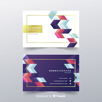 Kolorowy wizytówka szablon z geometrycznym projektem