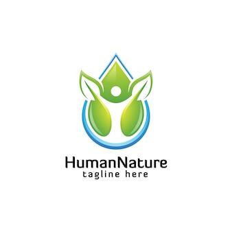 Kolorowy wodny natura liść i abstrakcjonistyczny ludzki logo