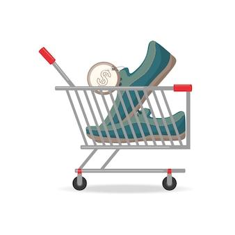 Kolorowy wózek na zakupy z nowym pojęciem zakupy buty