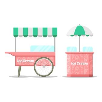 Kolorowy wózek z lodami.