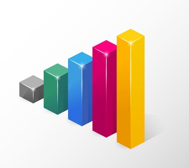 Kolorowy wykres słupkowy wektor podkreślający wzrost na białym tle