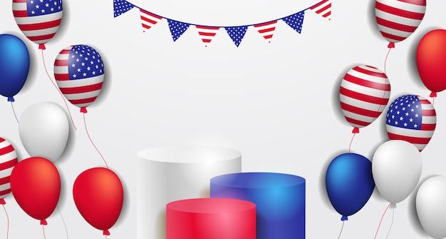 Kolorowy wyświetlacz 3d na podium z dekoracją latającego balonu helowego z amerykańską flagą